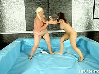 Two big beautiful moms fight for cock